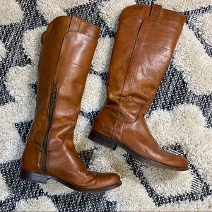 Frye Paige Cognac Leather Riding Boots Size 8